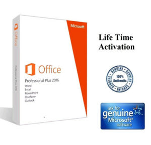 Microsoft Office 2016 Professional New Genuine 2pc Installs Free Shipping