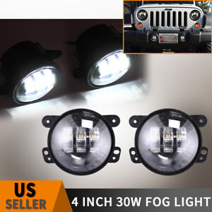 4 Round Led Fog Lights Driving Lamp Drl 97 17 Jeep Wrangler Jk Tj Lj 30w