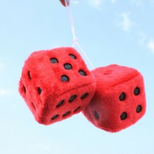2 Premium Large Fuzzy Plush Red Rearview Mirror Hang Dice For Car Truck Auto New