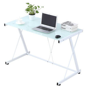 Mecor Pc Laptop Glass Table Computer Desk Workstation Office Home Furniture