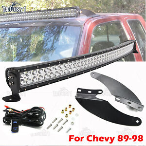 Fit 89 98 Chevy Obs C K Truck Upper Windshield Roof 52 Curved Light Bar Mount