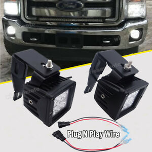 Wsays Fit Ford F250 F350 F450 3 24w Fog Led Light Pod Lower Bumper Bracket Kit