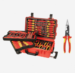 Wiha Tool Set 132802 80 Piece Insulated Rolling Case Free Knipex Pliers New