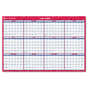 At a glance Erasable Vertical horizontal Wall Planner 32 X 48 Blue red 2018