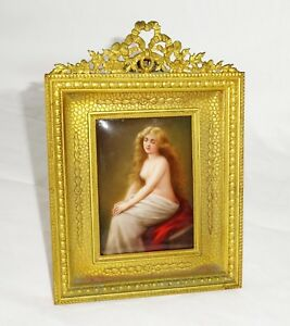 Antique German Framed Painted Porcelain Plaque Solitude By Kpm Wagner