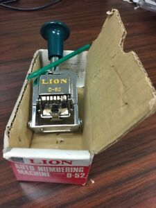 Lion Auto Numbering Machine D 52 New In Box Vintage Made In Japan Ink Stamper