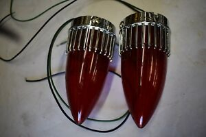 59 1959 Cadillac 59 Cad Rat Rod 2 Taillight Brake Stop Lamp Red Bulbs Assembly