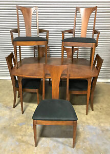 Broyhill Brasilia Dining Table W Leaf 2 Arm Chairs 5 Side Chairs Mid Century