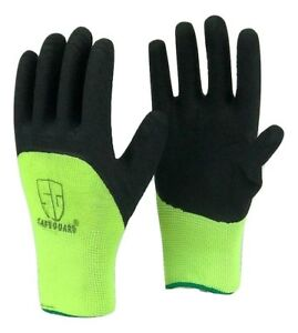 Safe Guard High Visible Green Knit Latex Palm Coated Nylon Work Gloves Wholesale