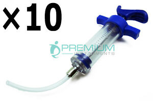 10 Pcs Veterinary Animal Reusable Pet Feeding Syringe 20ml Luer Lock Tip Set