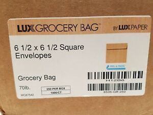 Lux 6 1 2 X 6 1 2 Square Grocery Bag Envelopes 70 250 Count h12b6 peel