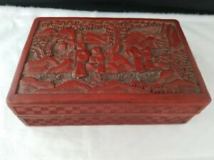 Vintage Chinese Carved Cinnabar Red Lacquer Storage Trinket Box 5 5 3 75 1 75 H
