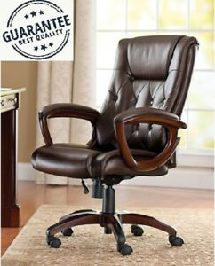 Brown Heavy Duty Leather Office Rolling Computer Chair High Back Executive Desk