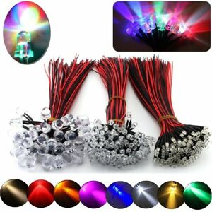 100 500pcs 3mm 5mm 10mm Pre wired Led Bulb Light Emitting Diodes 11 Color Bulbs