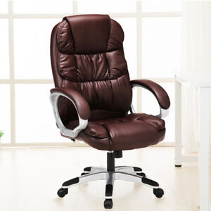 Executive Ergonomic Massage Chair 6 Mode Vibrating Computer Desk Chairs Brown