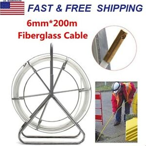 6mm Fiberglass Wire Cable Snake Running Rod Duct Rodder Pull Electrician 200m