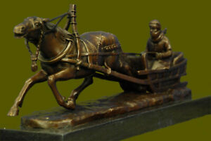 Russian Bronze Sculpture Man Horse Sled Signed Gornik 15 On Marble Base Figure