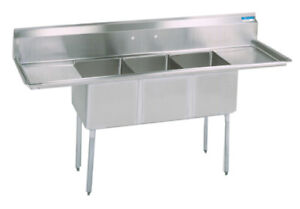Bk Resources Bks 3 18 12 18t Commercial Stainless Steel 3 compartment Sink 2 Db