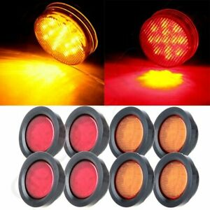 8pcs 2 5 Round 13 Led Side Marker Turn Tail Signal Lights Kits W Grommet Sealed