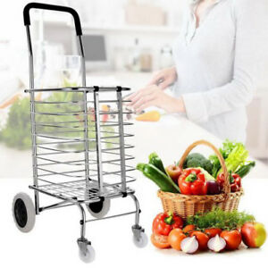 Superlight Aluminum Fordable Swivel Wheel Grocery Laundry Shopping Cart 50lbs