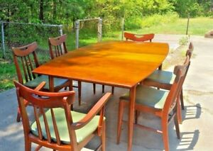 Mid Century Scandinavian Modern Teak Dining Room Table Chairs And Buffet