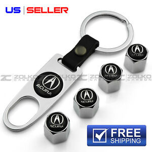 Valve Stem Caps Keychain Wheel Tire Chrome For Acura Us Seller