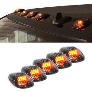 5pcs Truck Suv Smoked Lens Roof Top Full Amber 12 Led Running Parking Cab Lights