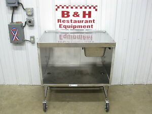 36 X 24 Stainless Steel Mobile Table Cabinet W No Drip Submarine Top 3 X 2