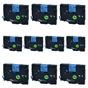 10pk For Brother P touch Pt 2730 12mm 8m Tz 531 Black On Blue Label Tape Tze 531