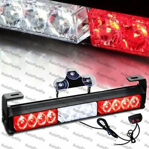 14 Inch Led Red White Bar Security Strobe Flash Light Warn Traffic Advisor