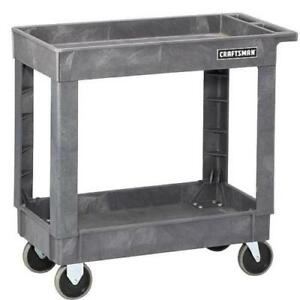 Craftsman 34 In 2 Shelf Rolling Plastic Service Utility Cart Tray Casters Wheels