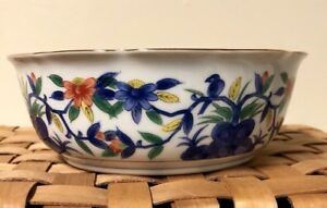 Chinese Old Marked Bright Colored Vine Flowers Blue Bird Pattern Porcelain Bowl