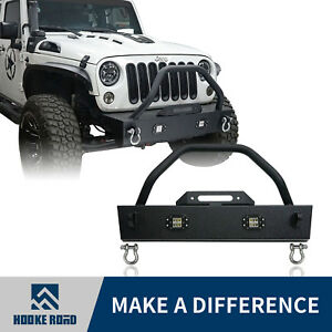 Off Road Front Bumper W Led Light Winch Plate For 07 18 Jeep Wrangler Jk