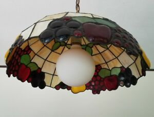 Vintage Stained Glass Hanging Ceiling Light Fixture Collectible