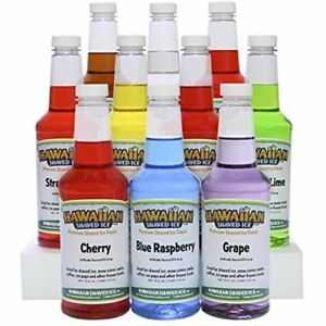 Hawaiian Shaved Ice 10 Flavor Syrup Package Includes Snow Cone Flavors 16oz