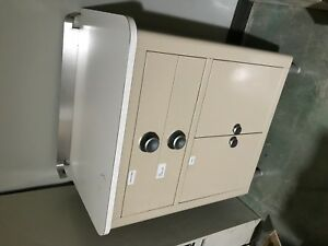 Vtg Mid Century Robins Light Brown Metal Medical Cabinet