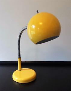 Vintage Ball Desk Lamp Yellow Metal Mid Century Modern Space Age Eye Ball