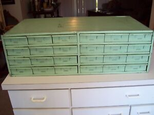 Vtg Metal Industrial 24 Drawer Storage Cabinet
