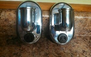 Pair Of Vintage After Sunset Lightolier Chrome Metal Wall Sconce Light Fixtures