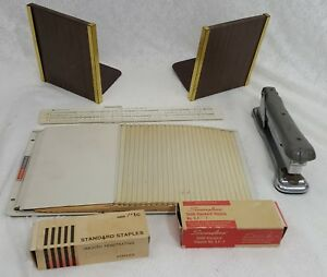 Lot Vintage Indust Steel Office Organization Metal File Bookends Stapler Ruler