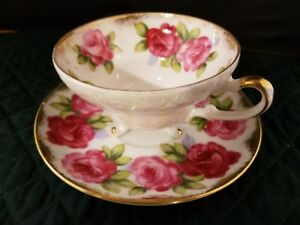 Vtg Del Mar Japan China 3 Footed Rose Tea Cup Saucer Hand Painted 24k Gold