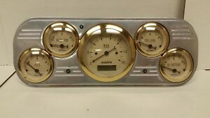1937 1938 Chevy Car Powder Coated 5 Gauge Cluster Gold