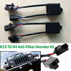 2pcs H4 To H13 Jeep Wrangler Jk Anti Flicker Decoders For 7 Round Led Headlight