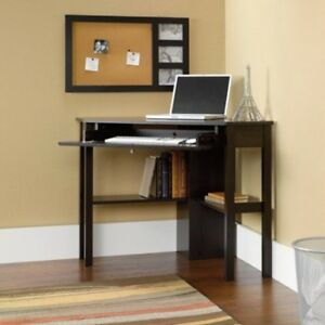 Office Corner Desk Computer Table Workstation Home Shelves Keyboard Drawer Brown