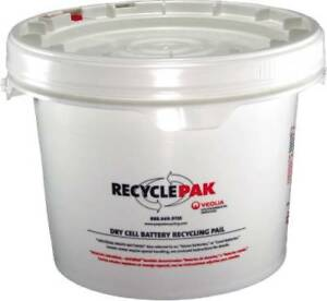 Recyclepak Prepaid Dry Cell Battery Recycling Pail 3 5 Gallon