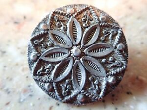 Antique Sterling Silver Victorian Picture Button Flower Motif Starburst