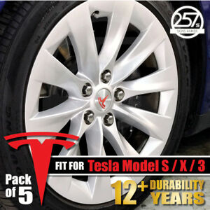 5pcs Tesla Model S X 3 Wheel Center Cap Rim Logo T Decals Emblem Sticker