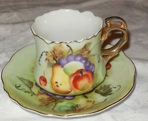Lefton Hand Painted Tea Cup And Saucer Green Heritage Fruit Still Life