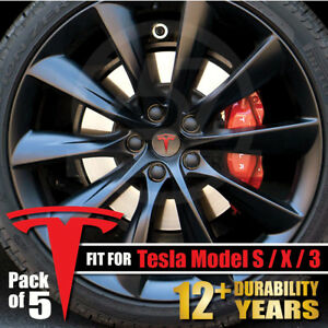 5pcs Tesla Model S X 3 Wheel Center Cap Rim Logo T Decals Sticker Emblem