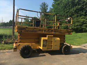 2001 Haulotte Hs4388rt 43 4x4 Diesel Rough Terrain Scissor Man Lift